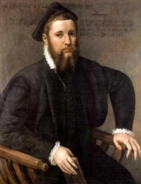 portrait of a bearded man in black costume with a black hat and a lace collar, holiding a book by lambert sustris