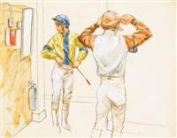 jockeys dressing, cheltenham by henry koehler