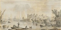view of the akkerman fortress from the dniestr estuary by giacomo quarenghi