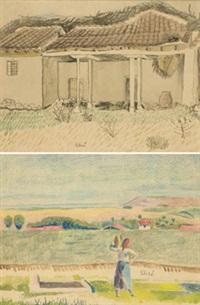 casa (+ campesina en paisaje; 2 works) by francisco san josé