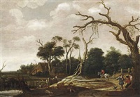 a wooded landscape with travellers on a road, a swineherd near the river bank and a village beyond by joachim govertsz camphuysen