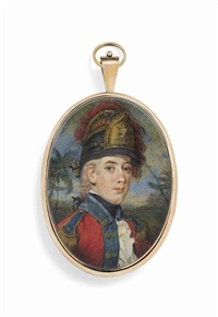 george forbes, in officer's uniform of the light company of fusiliers, blue-bordered red coat with gold buttons and epaulettes, black stock... by john alefounder