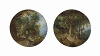 a rocky landscape with the rest on the flight into egypt; a wooded landscape with the temptation of christ (2 works) by jan brueghel the elder