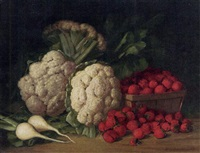 still life of cauliflower, strawberries and turnips by peter baumgras