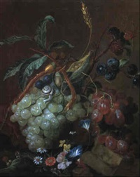 still life with grapes, wheat, flowers, snail and caterpillar by coenraet (conrad) roepel