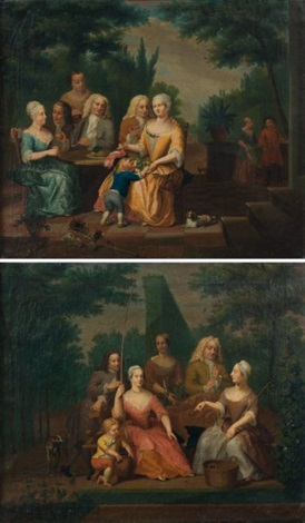 scènes familiales dans un paysage 2 works by dl hofmann