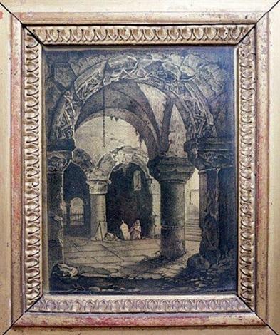 scène gothique moine agenouillé dans une crypte by louis jaques mandé daguerre