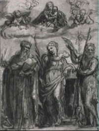 the virgin and child in glory with st. barbara, anthony abbot and john by stefano dall' arzere
