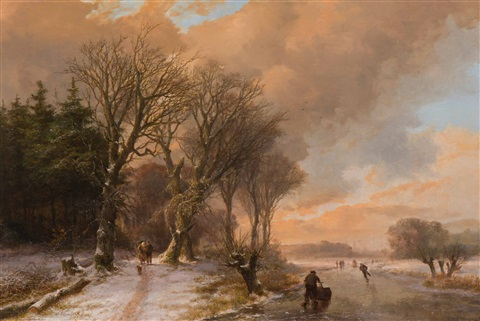 summer cows drinking from a stream in a wooded landscape winter walkers on a snow covered forest path and skaters on the ice 2 works by johann bernard klombeck