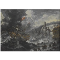 a coastal landscape with shipping caught in tempestuous seas by cornelisz mahu
