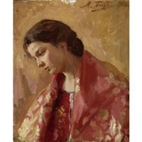 portrait of a young woman by mikhail mikhailovich babut