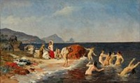 the princess of lycia bathes with her maidens at the sicilian coast by otto bache