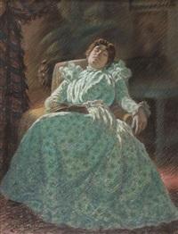 femme a la robe verte by auguste pegurier