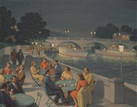 evening cafe scene by a river by fermin rocker