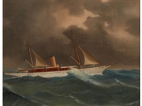a steam yacht underway off naples by de simone