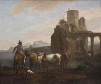 paysage au troupeau de vaches à l'avant-plan by nicolaes berchem