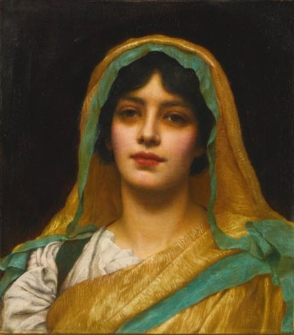 head of a girl atalanta by john william godward
