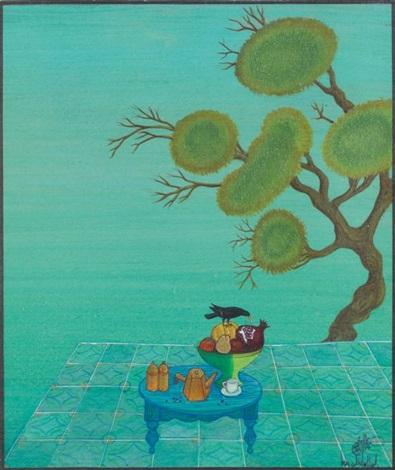 oiseau sur la coupe de fruits by jellal ben abdallah