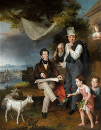 self portrait of the artist with his family and george dawe by wilhelm alexandrowitsch golicke