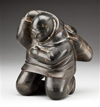 kneeling man putting on his hood by johnny inukpuk qumaluk