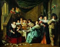 réunion galante dans un palais classique by pieter cornelius verbeeck