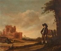 landschaft mit ruine und staffagefiguren by benjamin gerritsz cuyp