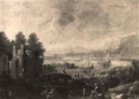 paysage fluvial animé de personnages by maximilian blommaerdt