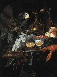 nature morte de fruits, aiguière en argent dor, et homard by harmen loeding