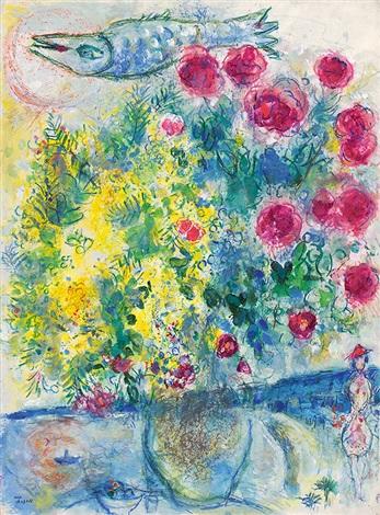 roses et mimosas (nice et la côte d'azur) by marc chagall