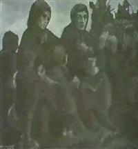 die brandnacht. frauen mit ihren kindern am wegrand, im   hintergrund der abgebrannte bauernhof by sepp anderegg