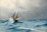 a ship in rough seas by daniel hermann anton melbye