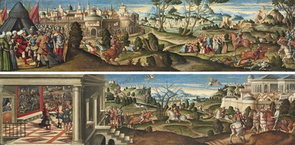 scenes from orlando furioso by girolamo da santacroce