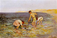 les enfants pêchant au bord de l'eau by garcia y ramos