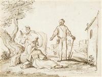 le lévite et sa concubine acceptant l'hospitalité d'un vieillard à gibea by jan victors