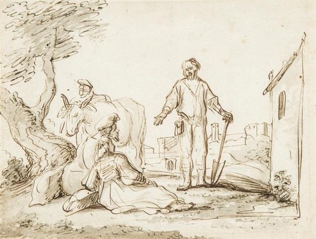le lévite et sa concubine acceptant lhospitalité dun vieillard à gibea by jan victors