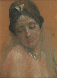 portrait d'une jeune femme au chapeau noir by jean albert grand-carteret