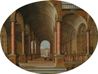 säulenhalle eines palastes mit der heimkehr des verlorenen sohnes by hans jurriaensz van baden