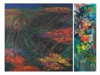 taman bunga (on 2 panels, various sizes) by amri yahya