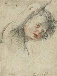 tete de jeune garçon levant son bras droit by orazio fidani
