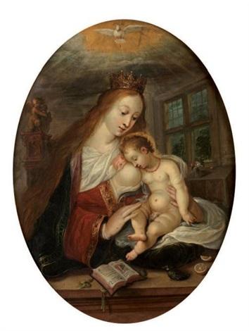 la vierge couronnée et lenfant jésus endormi avec la colombe du saint esprit by frans francken the younger