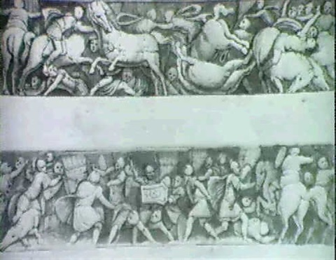 two friezes a battle of roman cavalry and an infantry engagement by pomponio amalteo