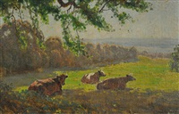 cows resting by perceval charles (percy) lindsay