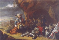 an officer smoking a pipe by a grotto, with armour, a drum and a flag in the foreground by jan-baptist tyssens