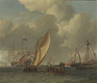 maritime scene; embarking and arrival, beacon tower on the shore by abraham jansz storck