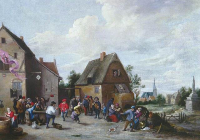 réjouissances villageoises devant lauberge by thomas van apshoven