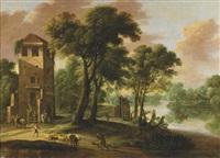 berger et cavalier près d'une tour dans un paysage fluvial by lucas achtschellinck