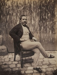two portraits of a moustached gentleman in the courtyard of 21 quay bourbon, ca.1853 by charles nègre
