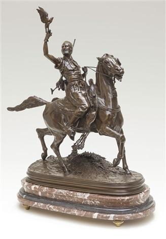 fauconnier arabe à cheval by pierre jules mêne