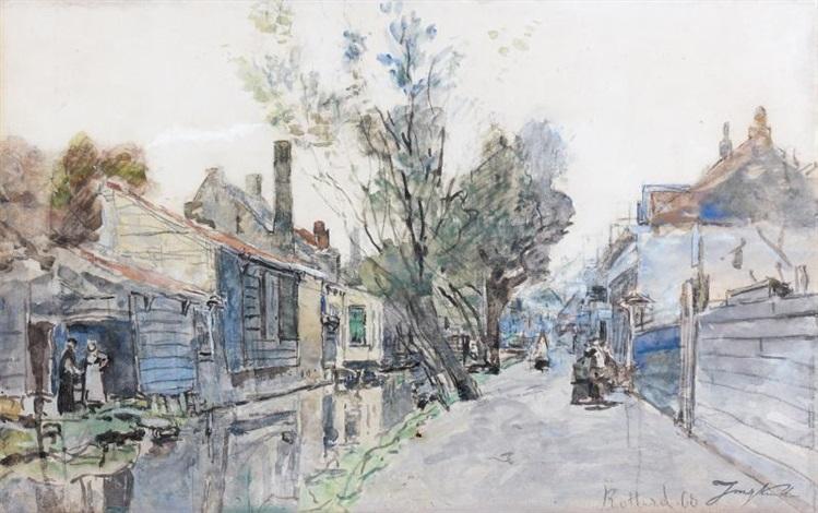 canal bordé de maisons by johan barthold jongkind