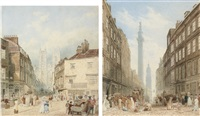 view of tothill street with westminster abbey beyond (+ view of gracechurch street with the monument and the church of st. magnus the martyr beyond; 2 works) by frederick nash